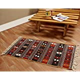 Homescapes 100% Cotton Kilim Printed Rug . Terracotta Black and Brown Design. Multi Purpose Mat.