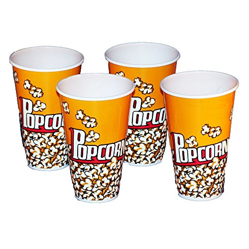 Plastic Popcorn Containers - Set of 4 Individual Size 7 Tall Tubs (Plastic Popcorn Cups compare prices)