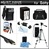 Must Have Accessory Kit For Sony HDR-PJ260V, HDR-PJ200, HDR-PJ670, HDRPJ670/B, FDR-AX33, FDRAX33/B HD Handycam Camcorder with Projector Includes Replacement (2300Mah) NP-FV70 Battery + Ac / DC Charger + Deluxe Case + Tripod + USB 2.0 SD Reader + Much More