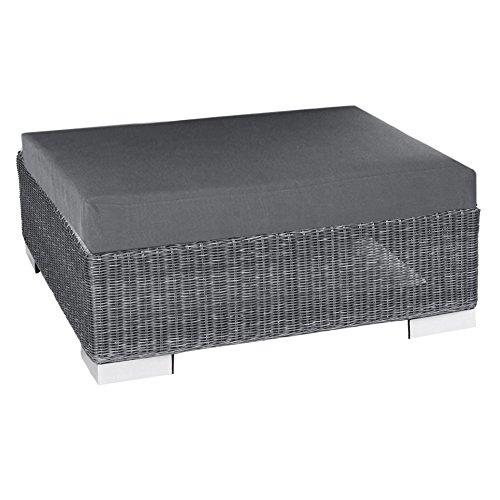 Stern Lounge-Hocker Avola mit Geflecht basaltgrau und Kissen 100% Polyester Dessin grau online kaufen