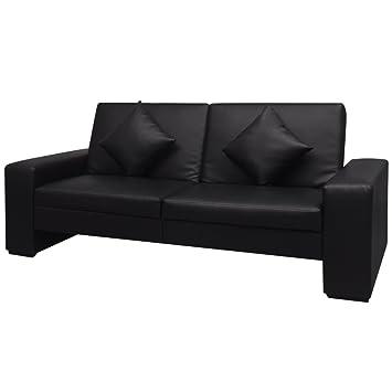 vidaXL Sofá cama de cuero artificial con grandes reposabrazos (Negro)
