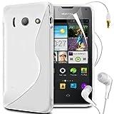 N4U Online S Line Wave Gel Skin Case Cover,Film,Pen & Earphones For Huawei Ascend Y300 - White