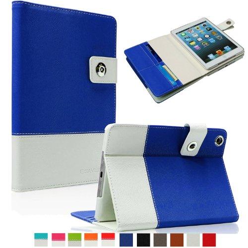 SAVEICON Royal Blue Hybrid PU leather Folio Case Cover with Card Slots Auto Wake / Sleep Smart Cover Book Shell Stand for Apple New iPad Mini / Mini Retina / Mini 3 Case (Released 2014) 7.9 Inch Wifi