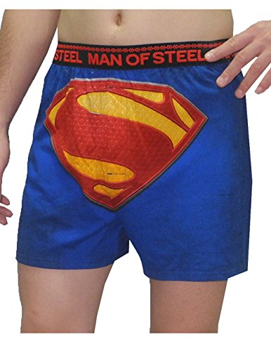 Mens SUPERMAN (MAN OF STEEL) Functional Open Fly Underwear (Vintage Look) S Blue