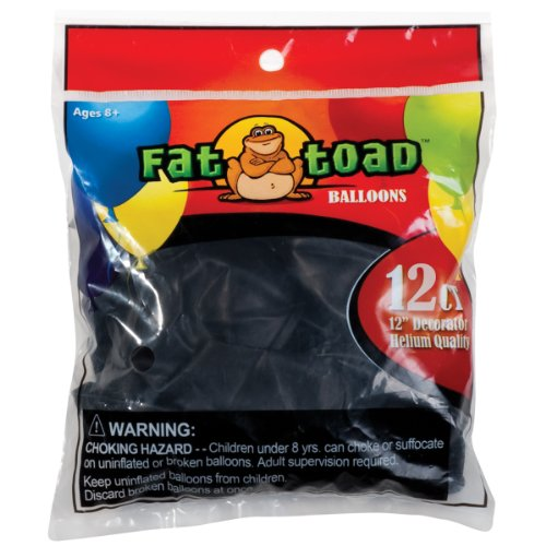 Axiom International Fat Toad Latex Balloons, 12-Inch, Black, 12-Pack - 1