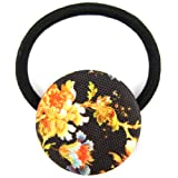 Orange Citrus Tone Black Midnight Blossom Printed Silk Screen Woven Fabric Covered Button Hair Elastic