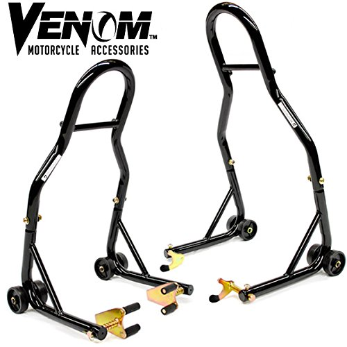 Venom® Sport Bike Motorcycle Front & Rear Combo Wheel Lift Stands Fork & Swingarm Stands Paddock Stands Fits Yamaha Honda Kawasaki Suzuki Ducati Bmw