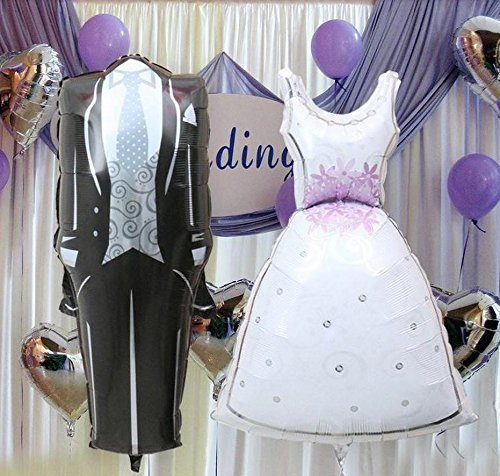 QTMY 11857cm Bride and Groom Dress Shape Foil Helium Balloons Marriage for rustic country church Wedding Birthday Party Decorations favours Supplies balloons Toy