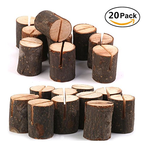 Rustic Wood Table Numbers Holder Party Wedding Table Name Card Holder Wood Place Card Holder Memo Note Card Holder Table Menu Holder Photo Picutre Holder (20 Pcs) (Table Number Place Cards compare prices)