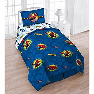 Comics spiderman pow twin comforter sheets bedding set home amp kitchen