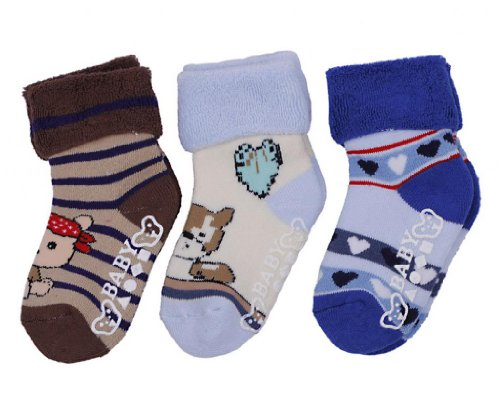 Eozy 3Pairs Winter Newborn Baby Knitted Warm Floor Toweling Socks Kids 1-3 Years front-334854