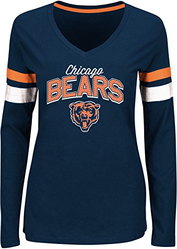 NFL Chicago Bears Women's The Essentials Lace Up Fashion Top, Medium, Traditional Navy/White/Classic Orange (Chicago Bears Womens Jersey compare prices)