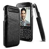 (IMAK) BlackBerry Classic Q20ケース  Q20ビンテージ調合成レザーケース [カード&紙幣収納]カードポケット2枚付きハードバックカバー スリム 軽量 (液晶保護フィルムゲット) (ブラック)