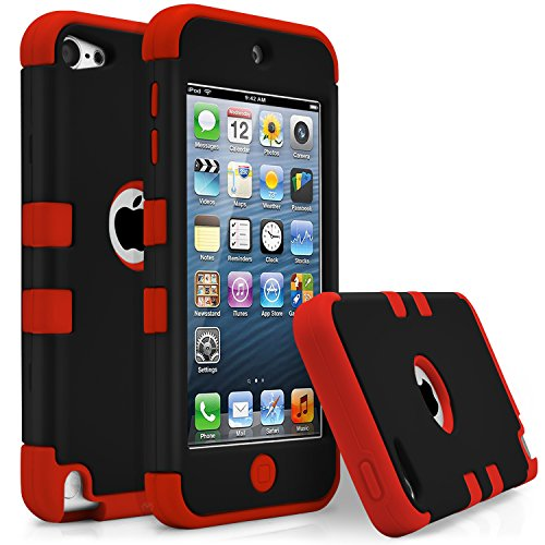 iPod Touch 5 Case, iPod Touch 6 Case, MagicMobile [Armor Shell Series] Double Layer Cover [Hard Shield] + [Flexible Silicone] Hybrid Case for Apple iPod 5th Generation [Impact Shock Resistant] / [ Black - Red ] ( Compatible with iPod 5th / 6th gen ) (Cool Ipod 5th Generation Cases compare prices)