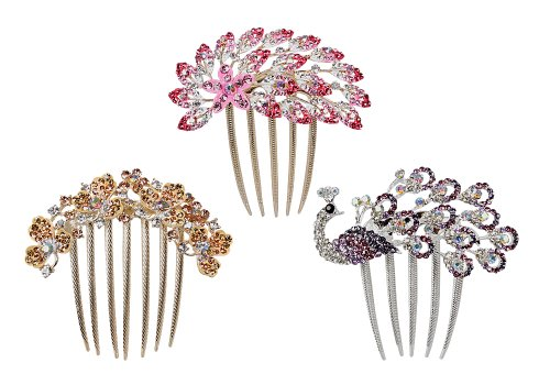 BMC 3pc Elegant Cubic Zirconia Rhinestone Decorative Floral Peacock Evening Hair Comb Bridal Brooch Set