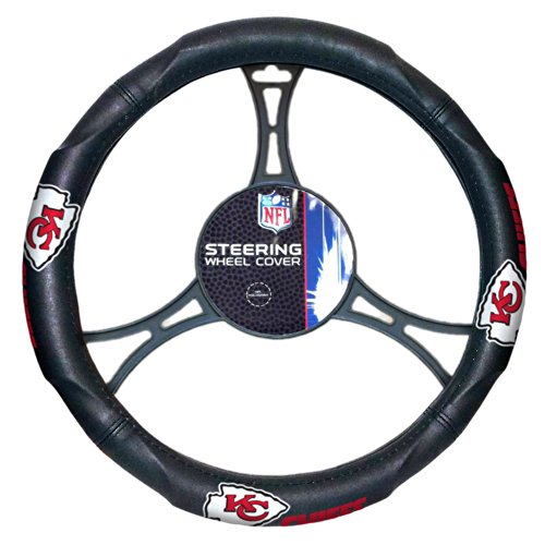 NFL Kansas City Chiefs Steering Wheel Cover, Black, One Size (Kansas City Chief Car Mats compare prices)