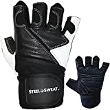 Steel Sweat Weightlifting Gloves with Wrist Wrap Support for Gym, Fitness Training, Workout and CrossFit - Made for Men and Women - Leather - XL