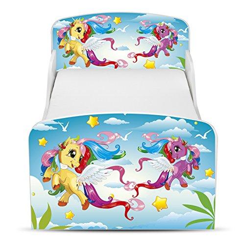 PriceRightHome poney Design MDF Toddler Bed avec rangement + matelas entièrement suspendue
