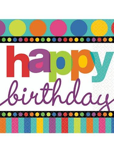 Amscan Unisex Adult Dots and Stripes Birthday Beverage Napkins Black Medium