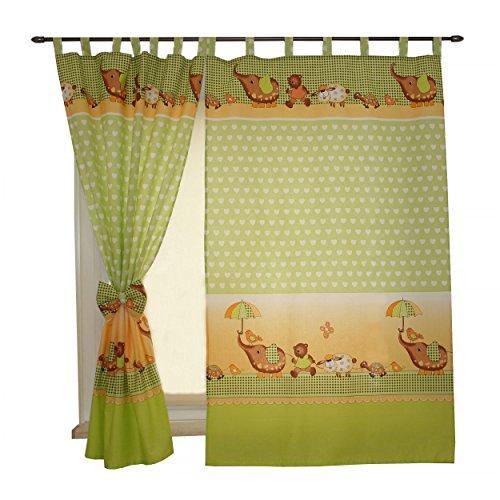 2er set vorh nge kinderzimmer gardinen mit schlaufen und schleifen 155x100cm dekoschal. Black Bedroom Furniture Sets. Home Design Ideas