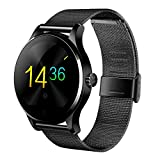 GearBest K88H Bluetooth Smart Watch with Heart Rate Monitor Stainless Steel Band Wristwatch for iOS and Android (Black)