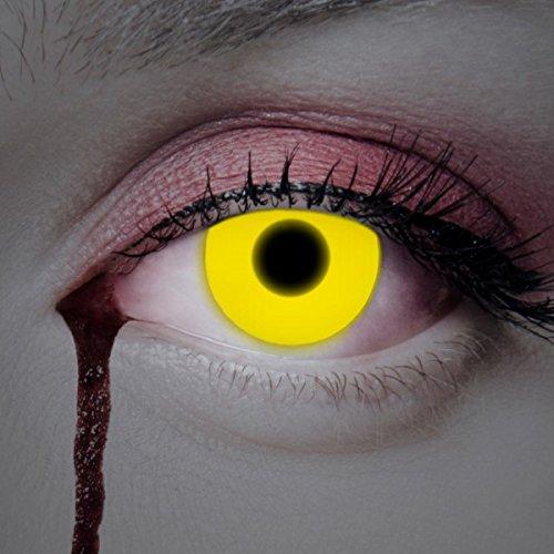 UV Lenti a contatto colorate Yellow Shock da Aricona - coprendo anni lenti per gli occhi chiari e scuri, senza ricetta, lenti colorate di carnevale, feste a tema e costumi di Halloween