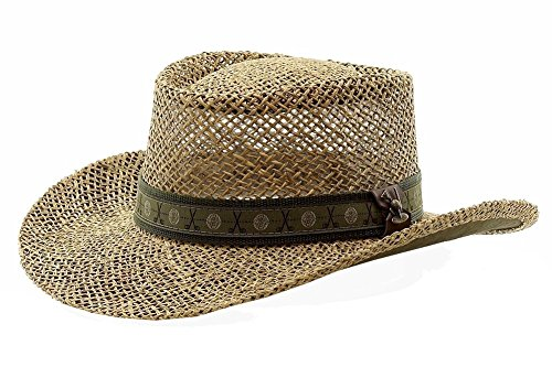 62bd6e67 Scala Pro Men's Twisted Seagrass Natural Straw Gambler Hat Sz: S/M | Hat  Outlet Sale