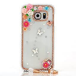 Samsung Galaxy S7 Edge Case, Sense-TE Luxurious Crystal 3D Handmade Sparkle Diamond Rhinestone Clear Cover with Retro Bowknot Anti Dust Plug - Flowers Butterfly / Colorful