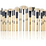Studio Quality Vegan Bamboo 24 Piece Premium Synthetic Cosmetic Makeup Brush Brushes Set Kit with Pouch Case Bag