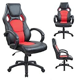 Duhome 0405 Fauteuil de bureau ergonomique en cuir synthétique et maille avec repose-tete et fonction bascule Rouge