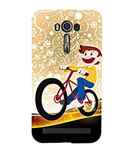 Boy on a Cycle 3D Hard Polycarbonate Designer Back Case Cover for Asus Zenfone 2 Laser ZE500KL (5 INCHES)