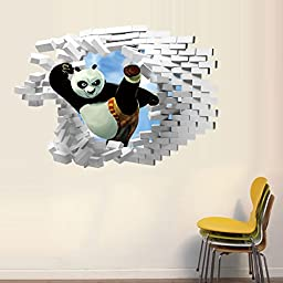 ORDERIN Art Christmas Gift Cute 3d Products Wall Decal Kung Fu Panda Mural Removable Wall Stickers for Kids Children Room Home Wall Decor