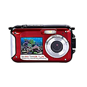 Coolbiz Double Screen Waterproof Camera 24MP 16x Digital Zoom Dive Camera for Diving Photography(Red)