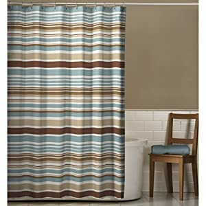 Blue Brown Stripe Fabric Shower Curtain Shower Curtains Blue A