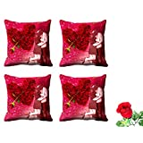 MeSleep Valentine Couple Cushion Cover (16x16) - Set Of 4 With Free Artificial Rose