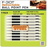 Zebra F-301 Retractable Ball Point Pen, Black Ink, Fine Point (0.7mm), Stainless Steel (9-Pack)