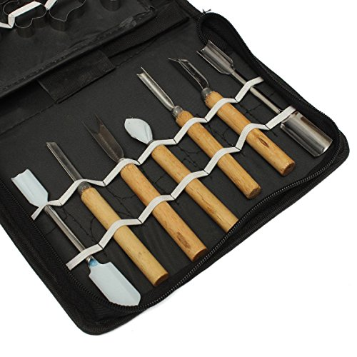 KINGSO 46PCS Vegatable Food Fruit Culinary Kitchen Carving Tool Kit Sculpting Modeling Tool Set with Bag Storage Case