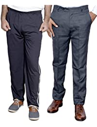 Indistar Mens Formal Trousers With Men's Premium Cotton Lower (Length Size -38) With 1 Zipper Pocket And 1 Open... - B01GEIO30O