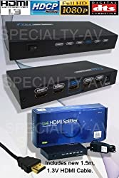 1x4 HDMI Distribution Amplifier Amp Splitter Distributor, HDCP, 1080p, 1.3v, 3D capable