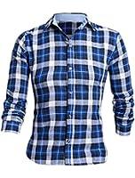 Chemise longues manches encolure pointue pour hommes motif carreaux