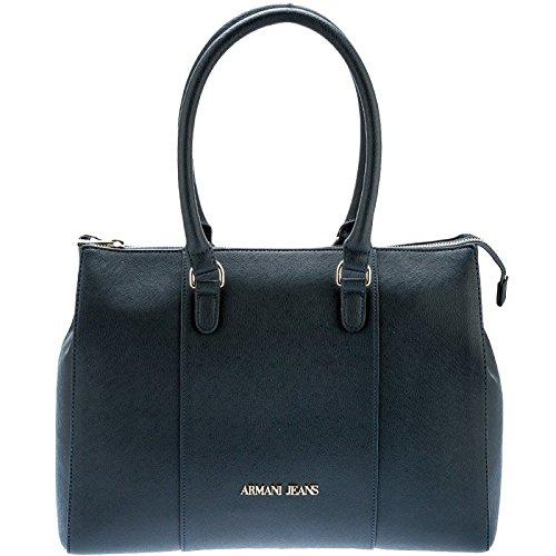ARMANI JEANS Borsa shopping media a spalla in saffiano DARK NAVY 922574CC85731835