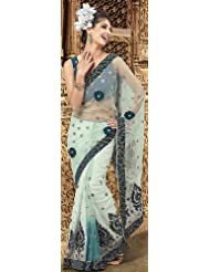 Exotic India Pale-Green Wedding Sari With Patch Border And Embroidered S - Green
