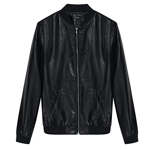 Acevog Women 39 S Quilted Biker Jacket Zipper Faux Leather Motorcycle Coat Jacket Xl Black Fba