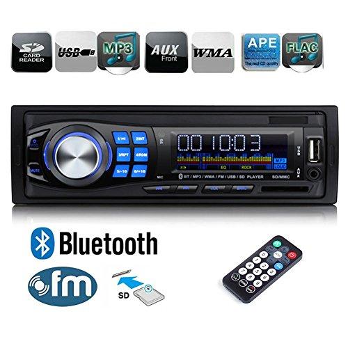 Regetek Car Radio Audio Stereo Receiver Bluetooth Handsfree Head Unit Single DIN In Dash 12V FM SD/USB/Aux MP3 Player+ Remote Control (Car Stereo Unit compare prices)