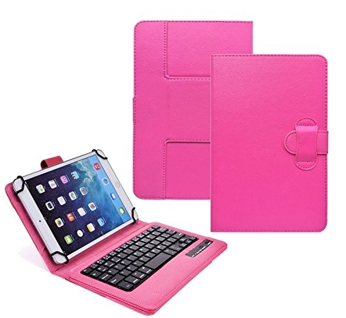 Tsmine Ematic Quad-Core 817707015912 10 Inch Tablet Bluetooth Keyboard Case - Universal 2-in-1 Detachable Wireless keyboard [QWERTY] w/ Folio Leather Case Stand Cover [NOT include Tablet], Hot Pink (10 Inch Quad Core Tablet compare prices)