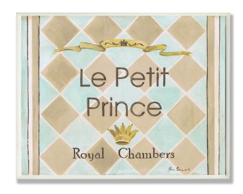 The Kids Room by Stupell Le Petit Prince Royal Chambers Brown and Blue Rectangle Wall Plaque