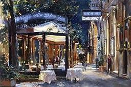 36W x 24H Cafe di Paris Via Veneto by Alexander Sergeeff - Stretched Canvas w/ BRUSHSTROKES