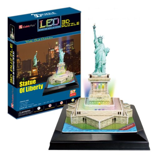 Ezhishop Stature Of Liberty With Base And Led Light Diy 3D Puzzle Model Toy-37 Pieces