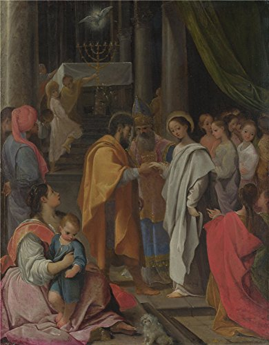 Oil Painting 'Ludovico Carracci The Marriage Of The Virgin ' Printing On High Quality Polyster Canvas , 10 X 13 Inch / 25 X 33 Cm ,the Best Wall Art Decoration And Home Gallery Art And Gifts Is This Cheap But High Quality Art Decorative Art Decorative Canvas Prints