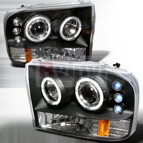 Ford F250 Led Dual Halo Black Projector Head Lights